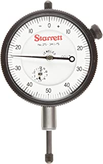 "product image for Starrett 25-341/5J Dial Indicator, 0.375"" Stem Dia., Lug-on-Center Back, White Dial, 0-50-0 Reading, 0-0.5"" Range, 0.001"" Graduation"