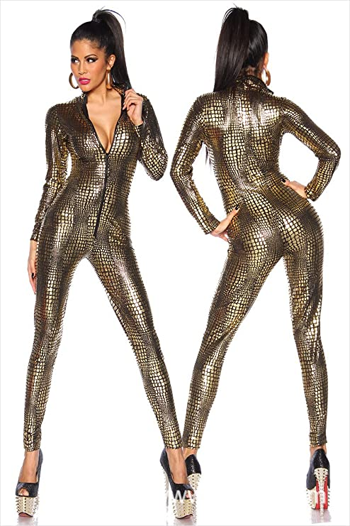 cee7baa013834 GYH Colorful House Womens Costume Snake Skin Print Front Zipper Leather  Tight Jumpsuit Catsuit Halloween Costumes