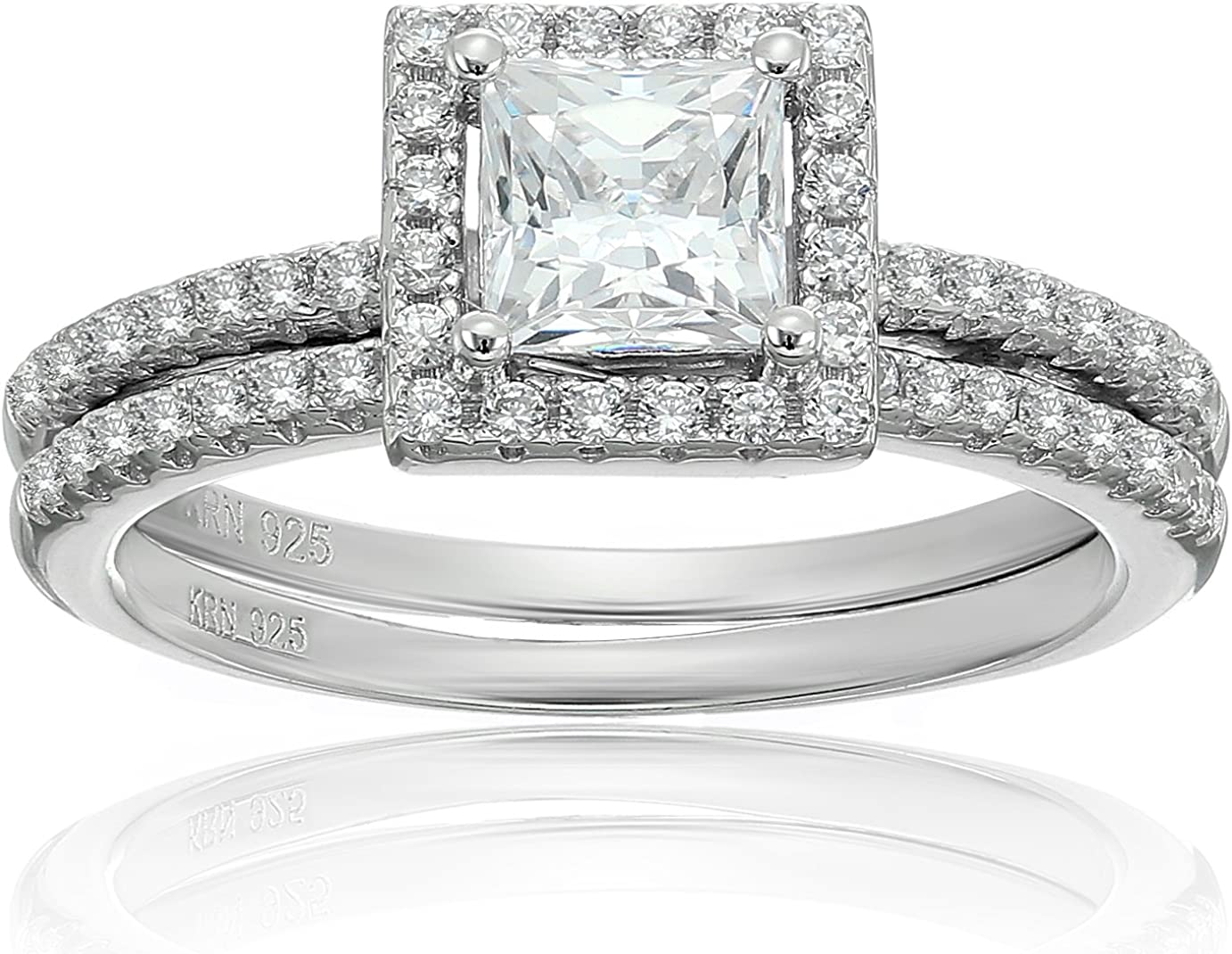 Solitaire Squared Frame Stainless Steel Ladies Engagement Wedding Ring