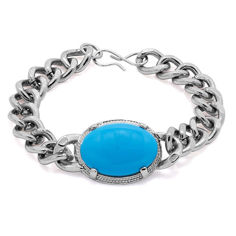 Pourni Salman Khan Style Turquoise Silver Finish Bracelet for Men
