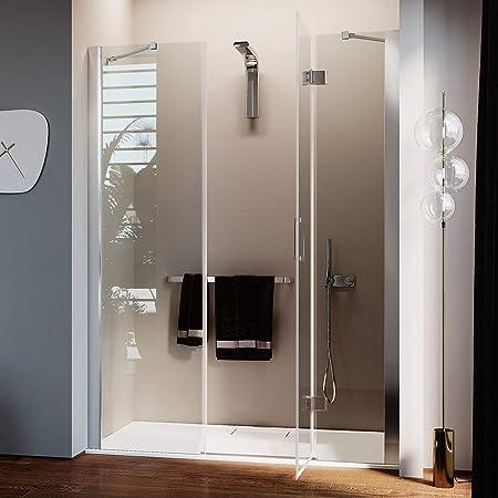Idralite Puerta de ducha105CM H190 Vidrio Transparente con Easy-Clean Mod. Flip Hoja + Fijo: Amazon.es: Hogar