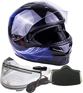 Adult Dual Visor Modular Full Face Snowmobile Helmet With Heated Shield, Breath Box (Blue