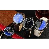 選べる 2 色 メンズ 高級 レザー 革 ベルト ビジネス ウォッチ シンプル おしゃれ スーツ 軽量 腕時計 【 BOX & 時計拭き 付 】