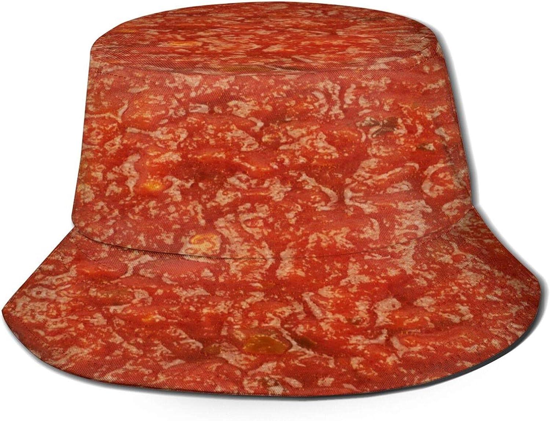 Marinara Tomato Texture Print Food Unique Bucket Hats for Women Teens Sun Visor Fisherman Aesthetic Hat Mens Cap