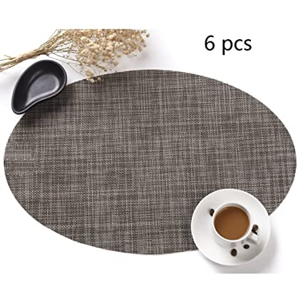 Round Table Placemats.Firelong Round Table Placemats Non Slip Insulation Woven Vinyl Washable Table Mats Pecfect For Round Tables Set Of 6 Brown