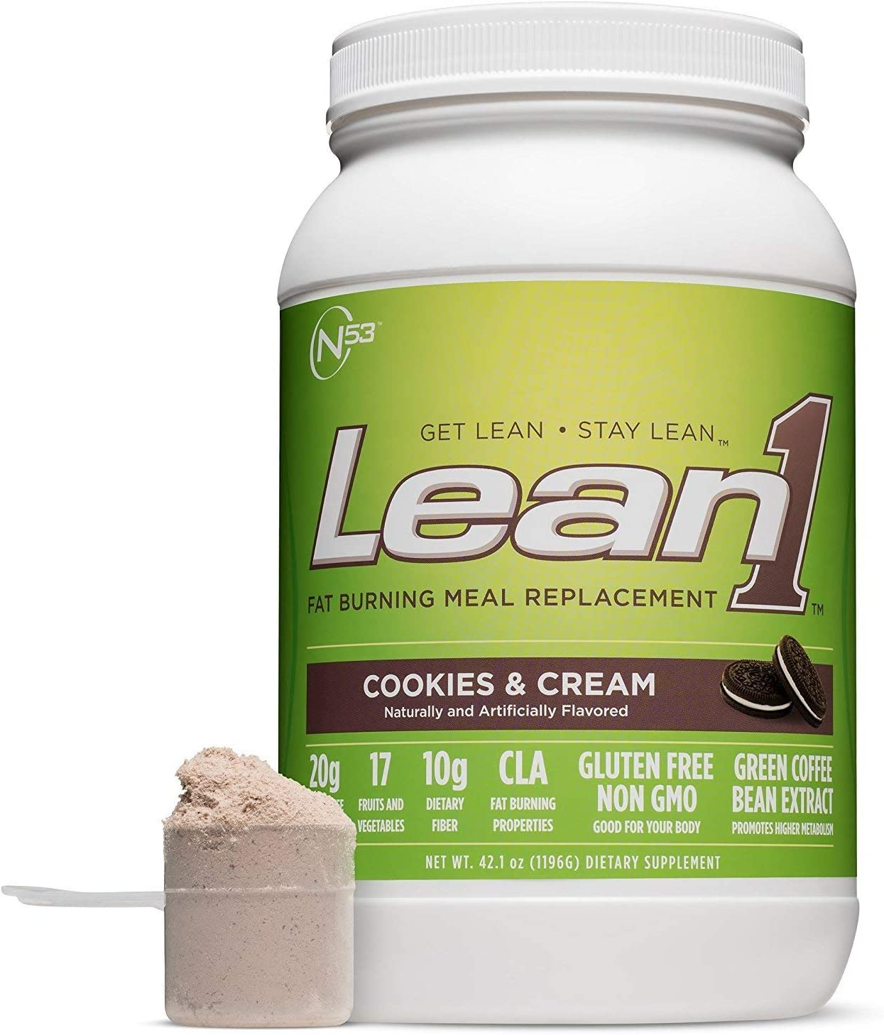 Lean 1 Cookies Cream Protein Powder Meal Replacement Shakes By Nutrition 53, Lactose Gluten Free with Green Coffee Bean Extract, 23 Serving Tub – 42 oz