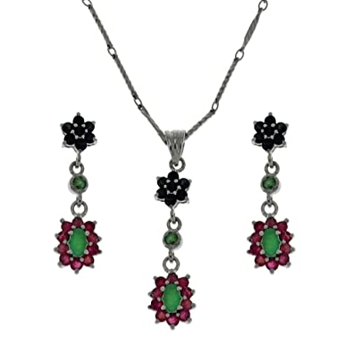f69608229de5 Buy Unique birthday Gift for Women Multicolor Gemstone Jewelry Set Pendant  Earrings and Silver Chain Handmade in India Online at Low Prices in India  ...