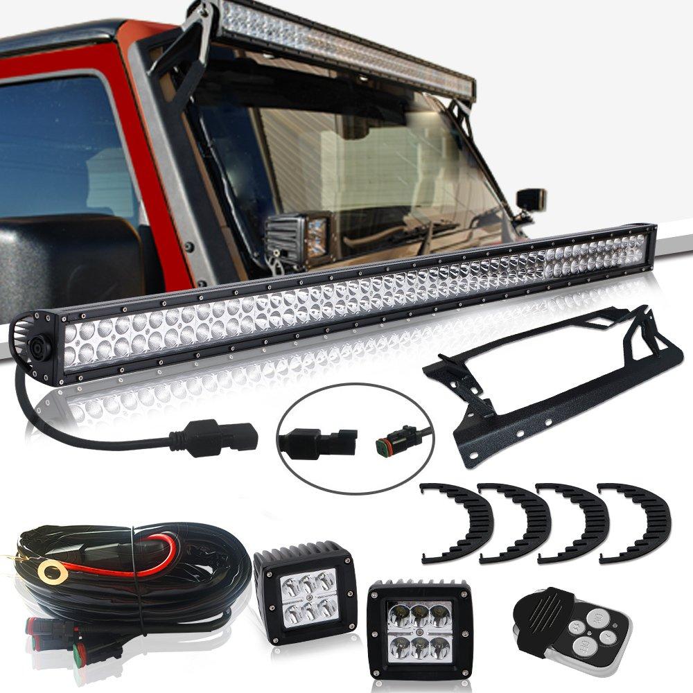 52'' LED Work Light Bar + 3In Pods Cube Fog Lights + Upper Roof Windshield Mounting Brackets W/ Lower Corner A-pillar Hinge Mount Brackets Fit 2007-2015 Jeep JK Wrangler Unlimited Sport Sahara JKU