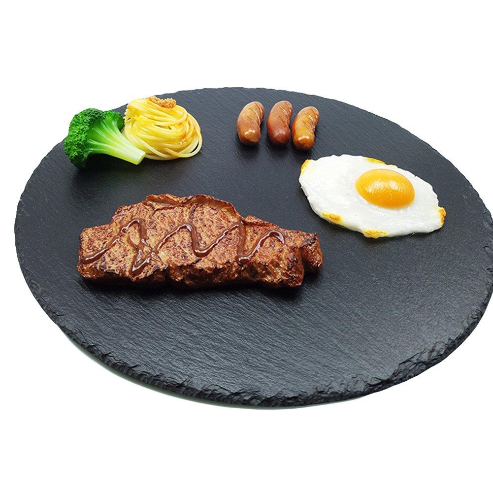 4パック天然スレートコースターセット、スレートチーズボードプレート、エレガントなブラック装飾チョーク図面パターンストーンのトレイバー飲料ワインメガネSmoked Meatsデザート(ラウンド) 8