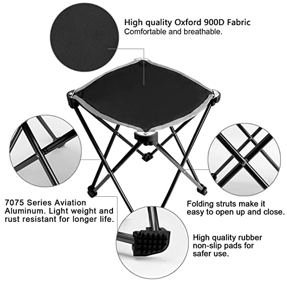 HTEANCO 2pack Aviation Aluminum Small Folding Camping Stool,Portable Camping Fishing Chair,240lbs Capacity Outdoor Slacker Chair for Backpacking,Hiking,BBQ,Picnic,Travel,Beach Chair