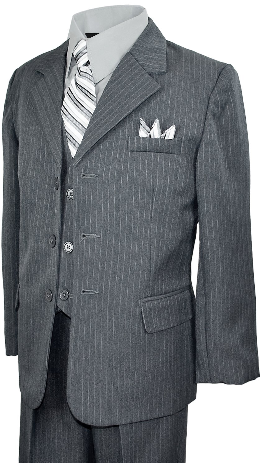 Boys Pinstripe Suit in Grey with Matching Tie Size 4T by Black n Bianco
