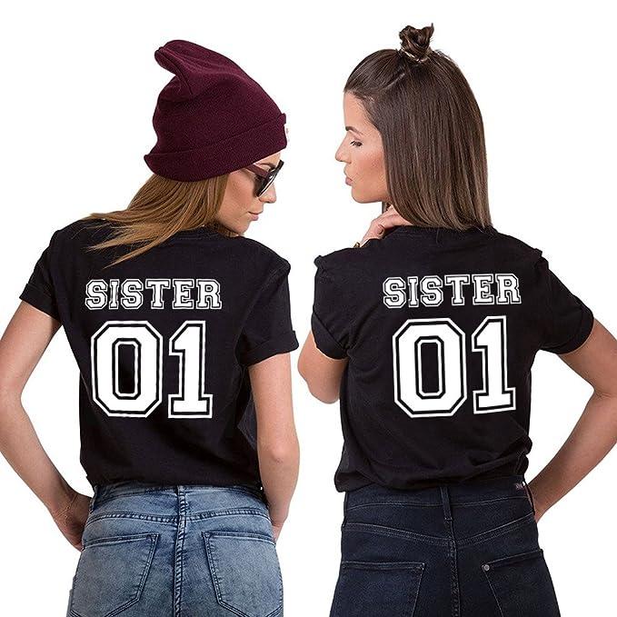 Mejores Amigas Camiseta Best Friend T-Shirt Impresión Sister 01 100%  Algodón 2 Piezas Camisa Hermana Manga Corta para Mujeres  Amazon.es  Ropa y  accesorios 73e990398985b