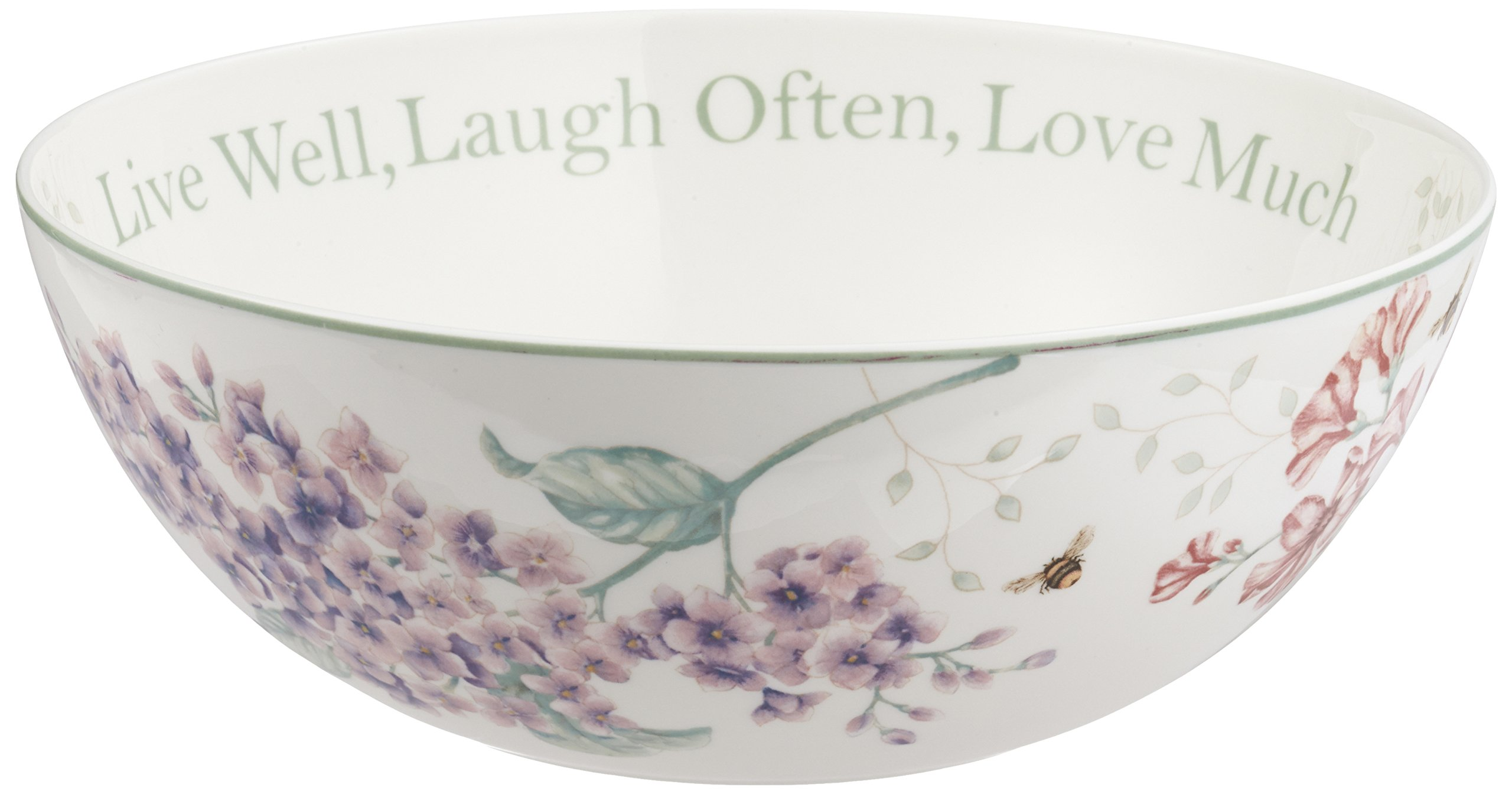 Lenox Butterfly Meadow ''Live Well, Laugh Often, Love Much'' Serving Bowl