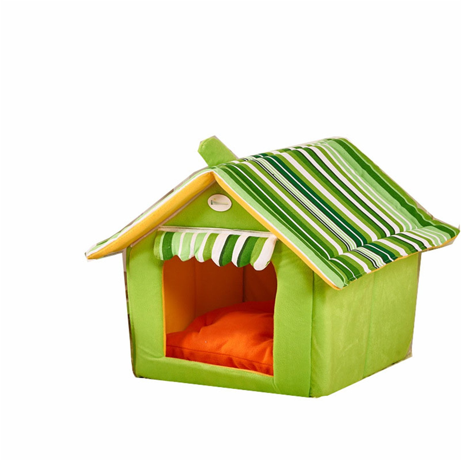 Green S Green S Leroyca Fashion Striped Removable Cover Mat Dog House Dog Beds for Small Medium Dogs House Pet Beds Green S