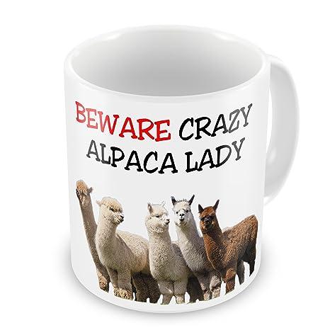 """Taza de regalo divertida con texto en inglés""""Beware Crazy ALPACA Lady"""""""