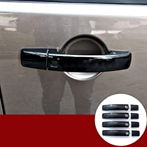 Gloss Black Door Handle Cover Trim For Land Rover LR4 Discovery 4 2009-2016 Range Rover Sport 2008-2013 Freelander 2 2010-2015(With Logo) (With 4 Smart Keyhole)