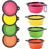 TUDIGONG 4-Pack Collapsible Silicone Dog Bowl,Food Grade BPA Free Portable Travel Pet Water Bowl With Carabiner