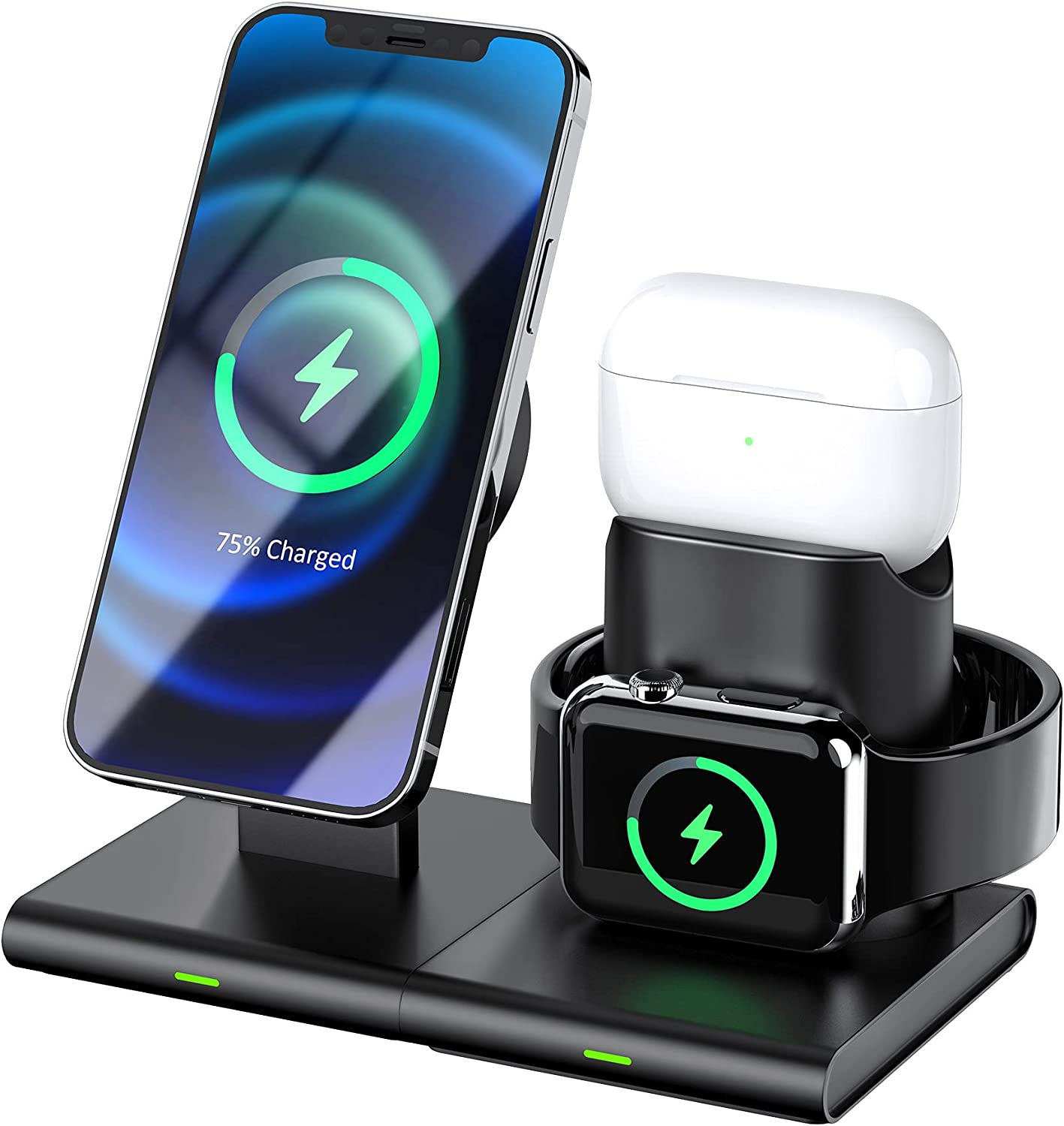 Hoidokly Magnetic Wireless Charger, 3 in 1 Wireless Charging Station Dock for Airpods Pro/2/1, iWatch 6/SE/5/4/3/2/1, Qi Fast Charging Stand for iPhone 12/12 Pro/12 Pro Max/12 Mini(NO QC 3.0 Adapter)