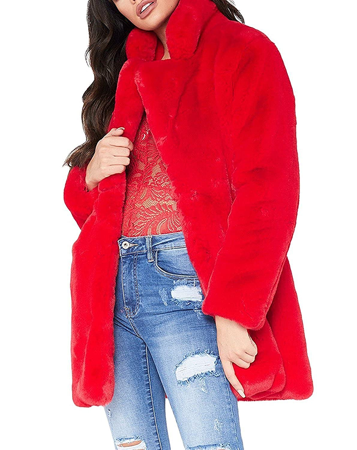 Salimdy Womens Winter Coat Fluffy Faux Fur Warm Outwear Coat Long Sleeve Jacket Pockets Cardigan