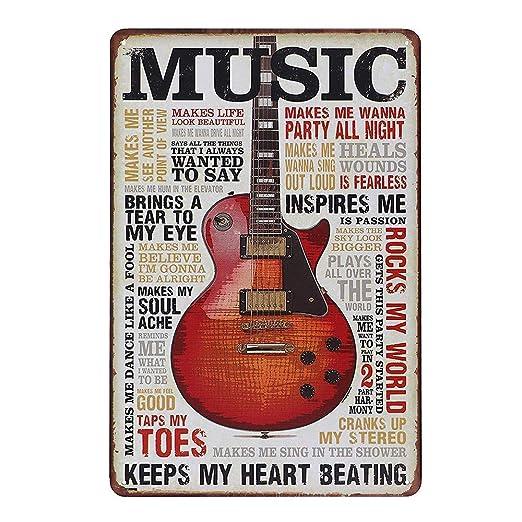 About Music Guitar Póster De Pared Metal Retro Placa Cartel ...