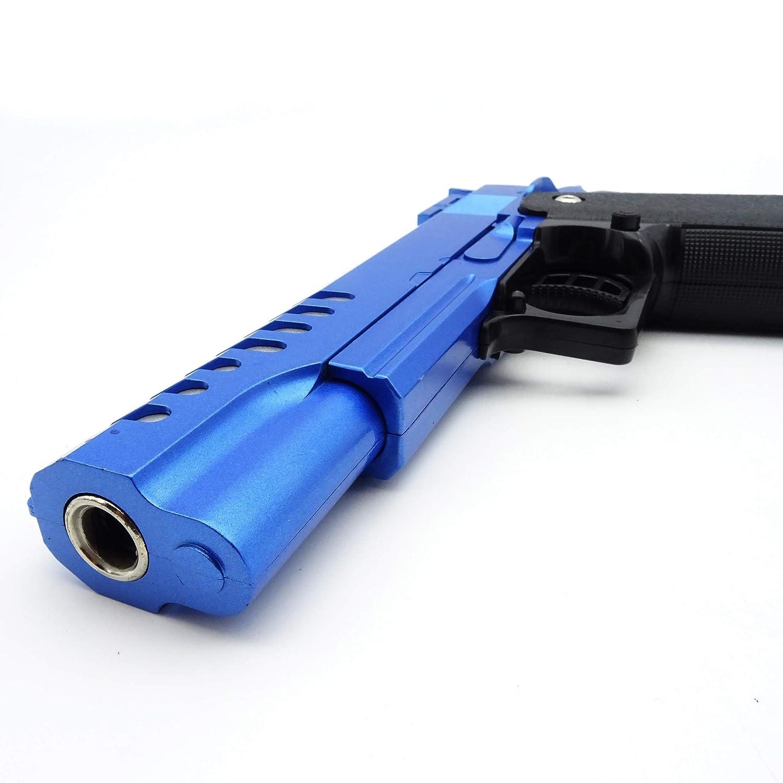 peso: 450 g longitud: 22 cm calibre: 6 mm menos de 0,5 julios - a partir de 14 a/ños presi/ón de resorte manual Pistola Airsoft Full Metal Rayline RV17 Blue color: azul - r/éplica en escala 1: 1