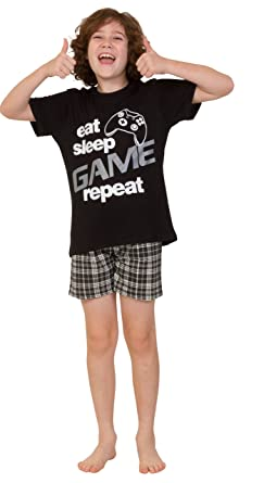 Boys Eat Sleep Game Short Pyjamas 9 to 13 Years Gamer PJs Black   Amazon.co.uk  Clothing 86be2e6a5