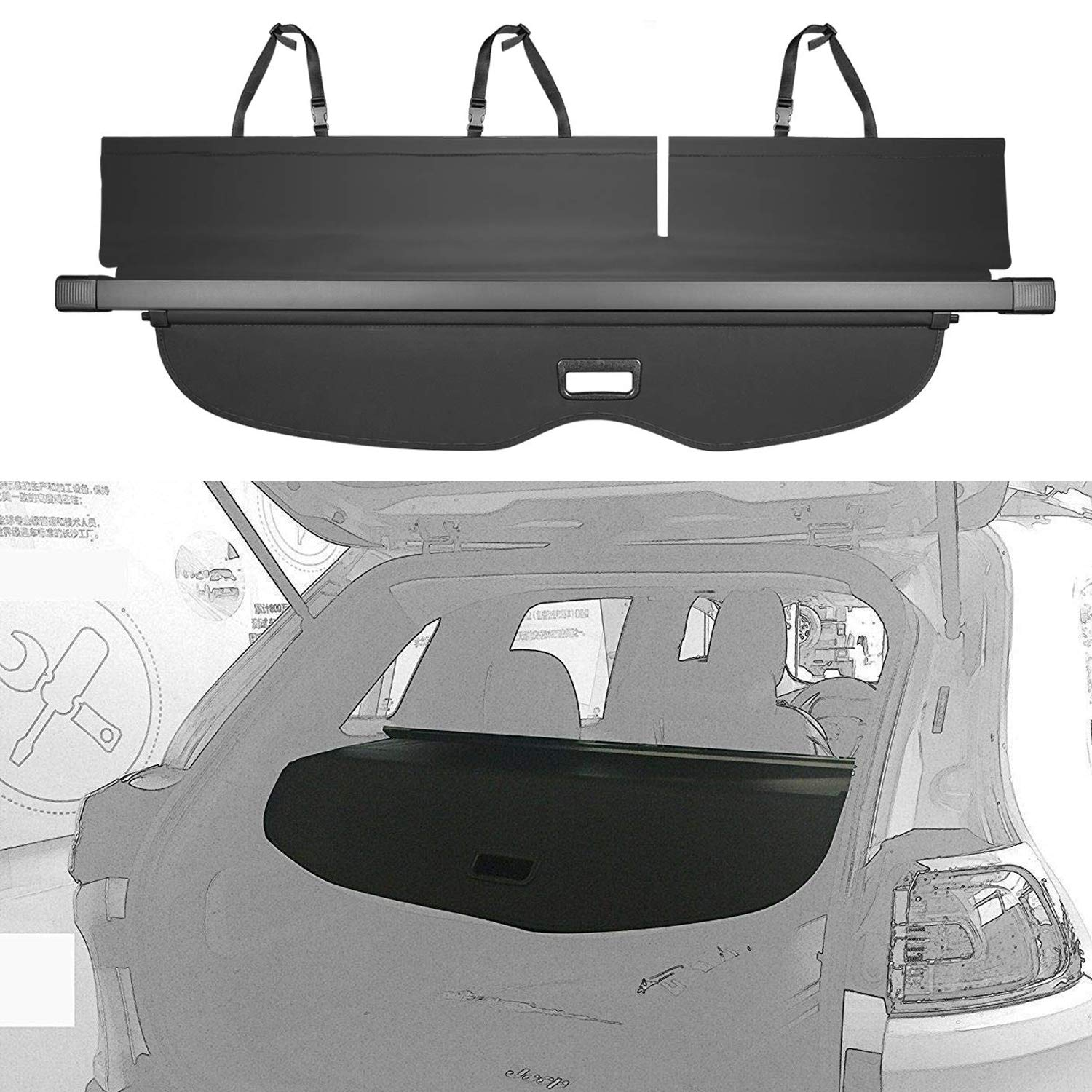 E-cowlboy Cargo Cover for 11-19Jeep Grand Cherokee Trunk Shielding Shade Black(Updated Version:There is no gap between the back seats and the cover,Not Fit for Jeep Cherokee)