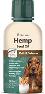 NaturVet Hemp Seed Oil Krill and Salmon, 16 oz. Liquid, Made in The USA