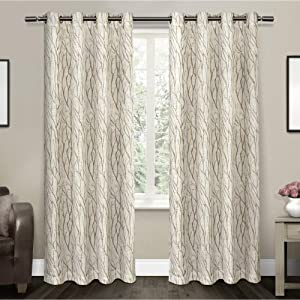 Exclusive Home Curtains Oakdale Motif Textured Linen Window Curtain Panel Pair with Grommet Top, 54x84, Taupe, 2 Piece