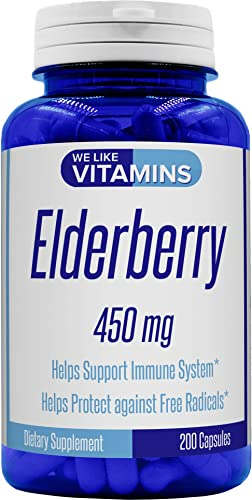 Elderberry 450mg – 200 Capsules – Super Immune Defense get Berry and Flower Flavonoids with Elderberry Capsul