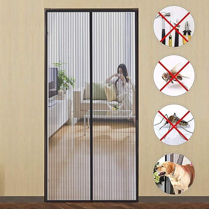 GUOGAI Cortina Mosquitera para Puertas 85x210cm(33x83inch) Mosquitera Magnética Evita el Paso de Insectos Sin Huecos para Sala de Salón Terraza, Negro A: Amazon.es: Hogar