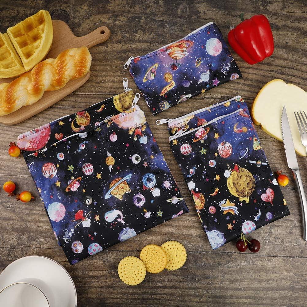 Universo Girlslove talk Bolsas Reutilizables para Bocadillos y Sandwich,Conjunto de 2 Bolsas de Almacenamiento de Alimentos,Bolsas de Almuerzo Impermeables y Ecol/ógicas