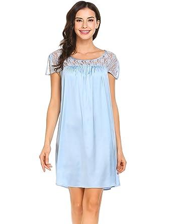 50caf53093 Adome Women Satin Nightdress Short Cap Sleeve Nightgown Sleepwear S ...