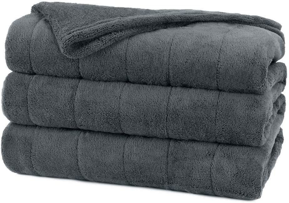 Sunbeam Channeled Soft Microplush Electric Heated Warming Blanket Twin Slate Gray Washable Auto Shut Off 10 Heat Settings