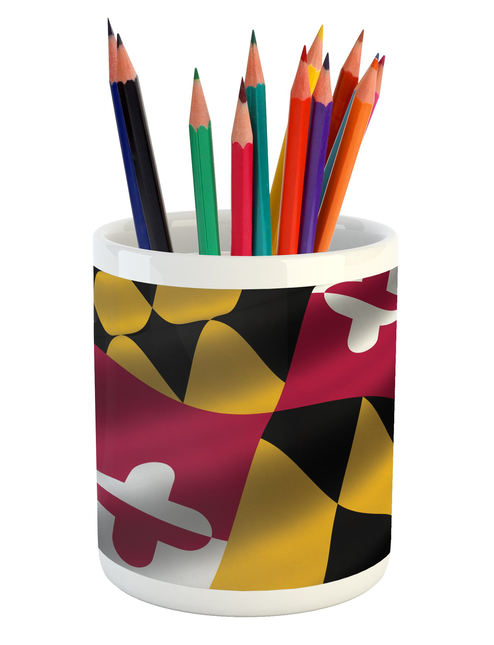 Lunarable American Pencil Pen Holder, Flag of The US State of Maryland Closeup 3D Style Picture Waving America National, Printed Ceramic Pencil Pen Holder for Desk Office Accessory, Multicolor