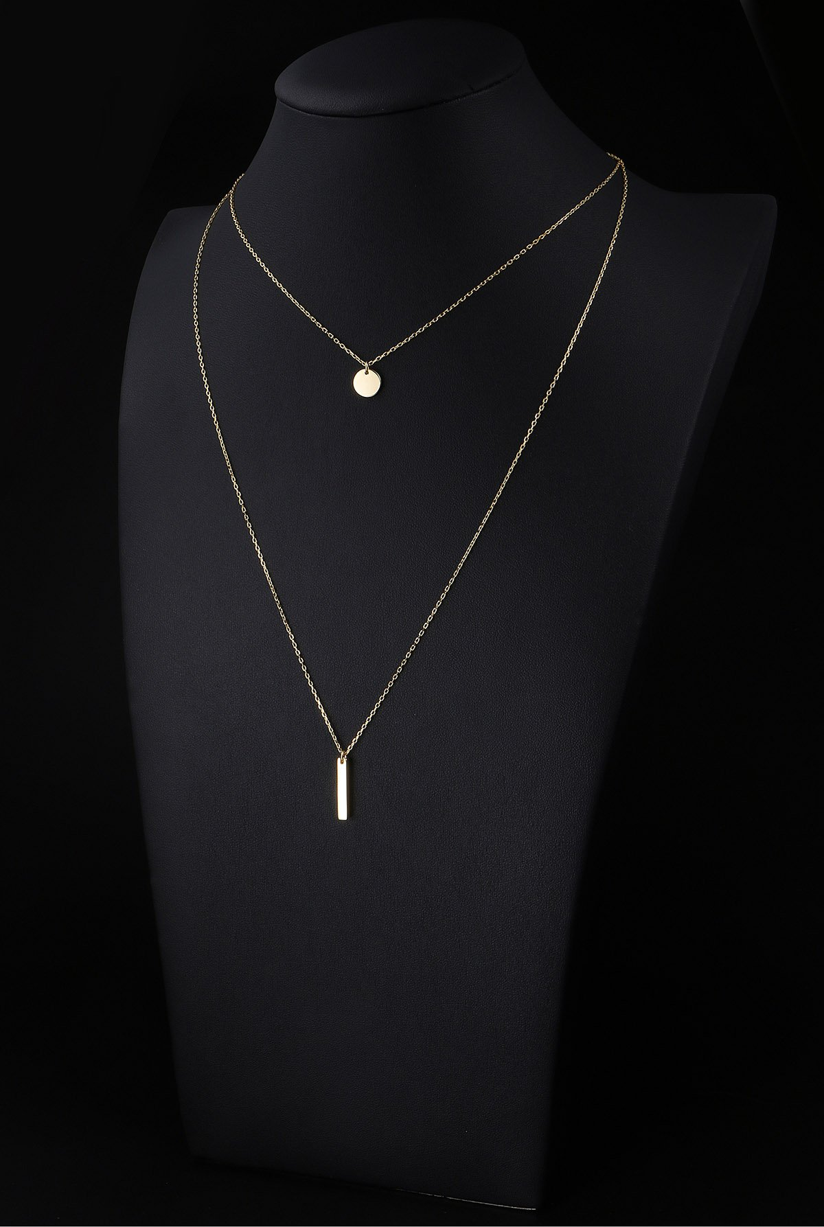 925S Sterling Silver Bar Dot Double Layered Long Chain Choker Y Necklace Women Lady Golden by SILVER MOUNTAIN (Image #2)
