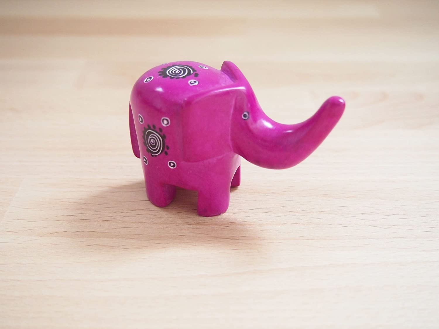 Assorted Patterns African Fuchsia Pink Soapstone Elephant Sculpture Made in Kenya