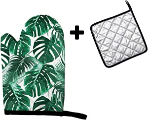 MSGUIDE Palm Tree Leaves Oven Mitt and Pot Holder Heat Resistant Oven Glove for Kitchen Cooking Baking, BBQ, Grilling