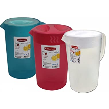 Rubbermaid One Gallon Pitchers, Red and White and blue