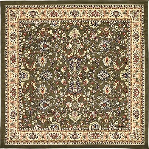 Unique Loom Kashan Collection Green 8 ft Square