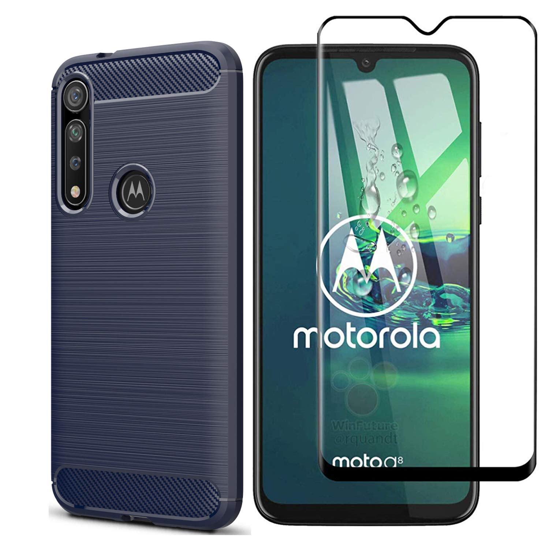 Funda + Vidrio Templado Motorola G8 Plus, Azul