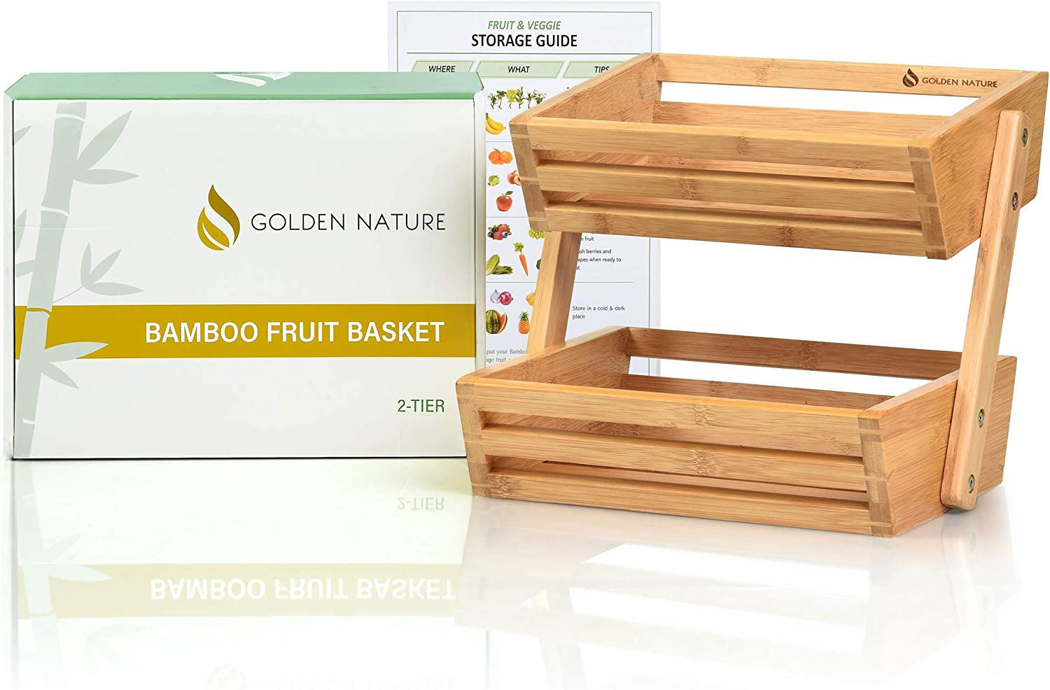 2-Tier Bamboo Fruit Basket, Fruit Stand for Kitchen Countertop, Vegetable Produce Bread Storage Holder, Fruit Not Included
