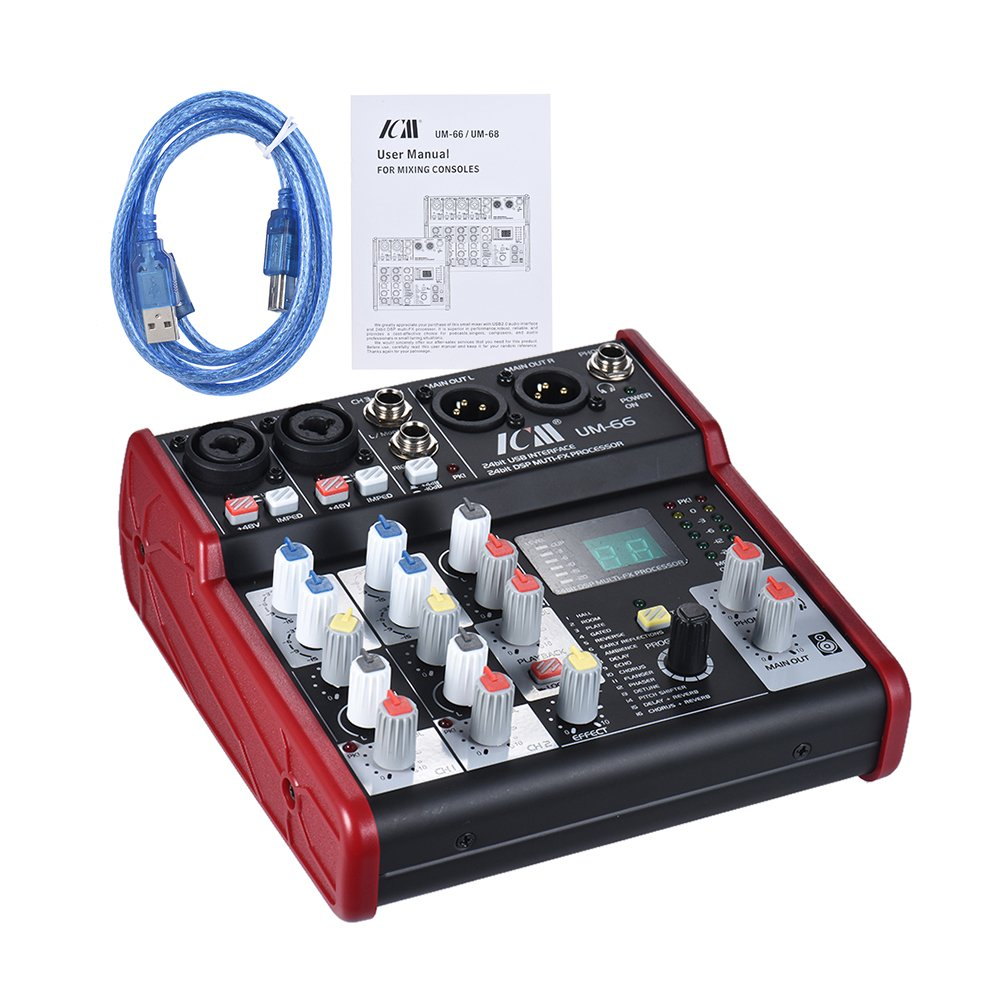 ammoon UM-66 Portable 4-Channel Sound Card Mixing Console Mixer Built-in 16 Effects with USB Audio Interface Supports 5V Power Bank for Recording DJ Network Live Broadcast Karaoke