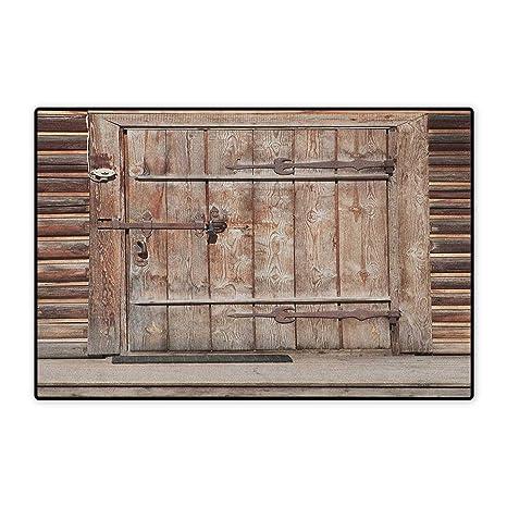 Rustic,Door Mats For Home,Timber Rustic Door In Wall Of An Old Log