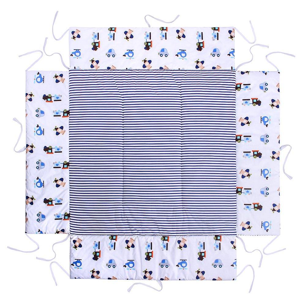LULANDO Materassino Per Box Giochi Per Bambini 75x100cm o 100x100cm Oeko-Tex Standard 100, Colore: Airplanes/Stripes, Dimensioni: 100 x 100 cm Prezzi offerte