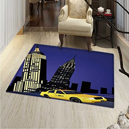 Amazon.com: City Rugs for Bedroom Skyscrapers and Taxi New ...