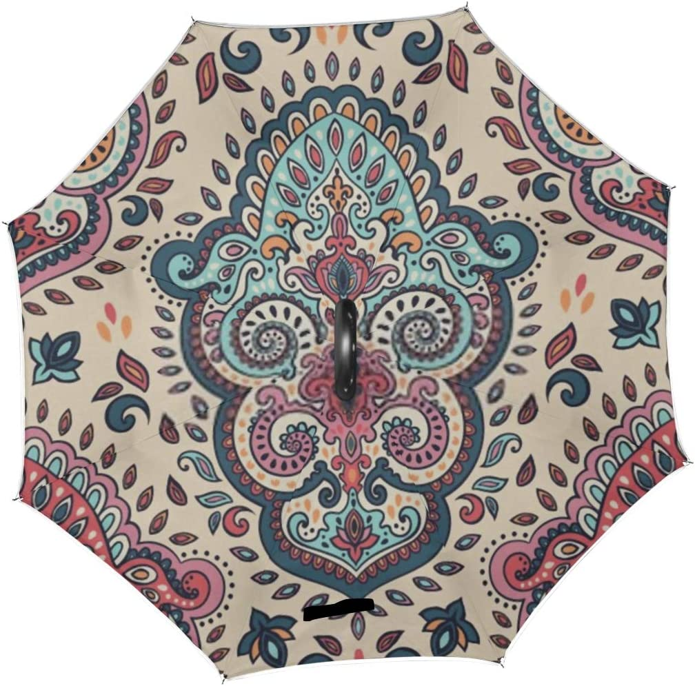 Double Layer Inverted Inverted Umbrella Is Light And Sturdy Indian Floral Paisley Seamless Ornament Pattern Reverse Umbrella And Windproof Umbrella E