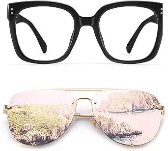 Oversized Square Blue Light Blocking Glasse for Women,Oversized Rimless Aviator Sunglasses for Women