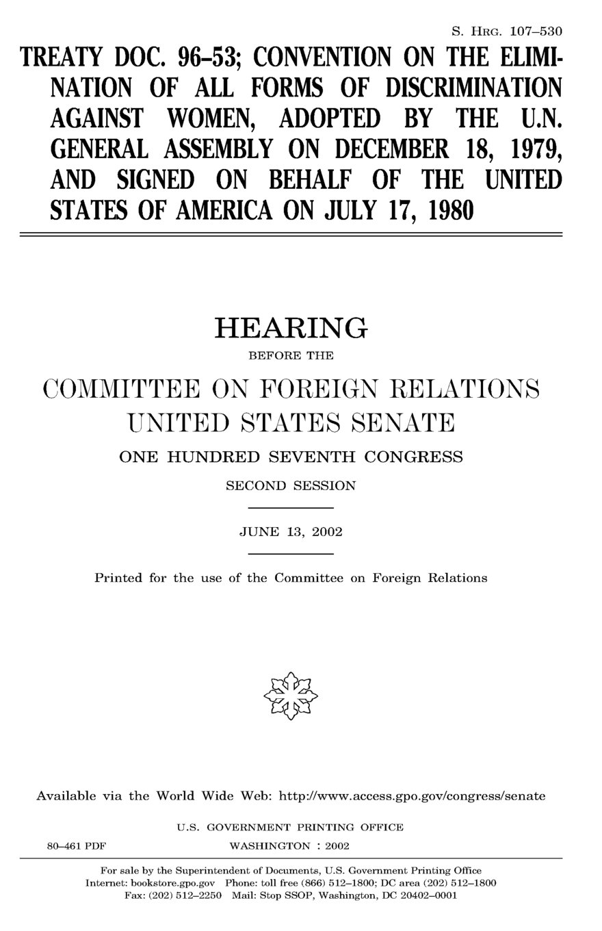 Download Treaty doc. 96-53; Convention on the Elimination of All Forms of Discrimination against Women, adopted by the U.N. General Assembly on December 18, ... the United States of America on July 17, 1980 ebook