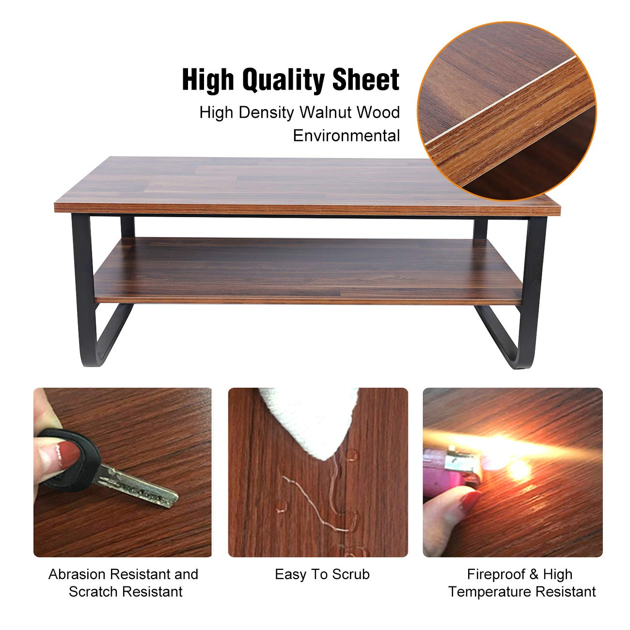 BEAMNOVA 47x24x18 Coffee Table with Storage for Living Room End Table Rustic Vintage Iron and Wood Set Tea Table